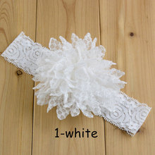 10pcs/pack 4.5inch Big Chiffon Eyelet Flower Lace Stretch Headband Girls Hairbands White Ivory Peach Pink Mint Yellow Coral