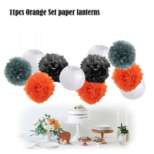 "11pcs/set 25cm Black/Orange/Grey Hanging Tissue Paper Pom Pom 8"" White Round Paper Ball Lantern Halloween Party Decoration(China)"