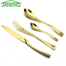 JANKNG 4pcs/lot High Quality 24K Gold Cutlery Set Western Stainless Steel Dinner Set Fork Knife TeasSpoon Table Dinnerware Set