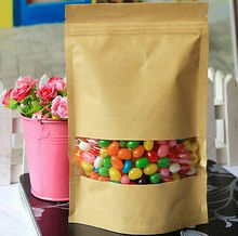 3/10pcs Kraft Paper Bags Party Food Shopping Window Ziplock Sealing Stand 13x9cm