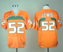 Nike Miami Hurricanes Ray Lewis 52 College Ice Hockey Jerseys - Orange Size M,L,XL,XXL,3XL(China)