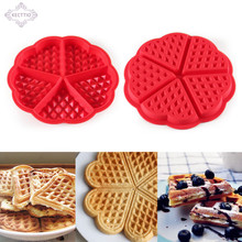 KECTTIO 1pcs Heart Shape 5-Cavity Mini Fancy Waffles Cake Chocolate Pan Silicone Bundt Oven Muffins  Baking Mould Tools