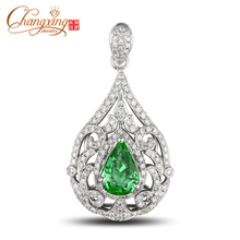 Hot!! 14k Gold 1.08ct Pear Shape Colombian Emerald Pave Set Diamond Pendant Fine Jewelry