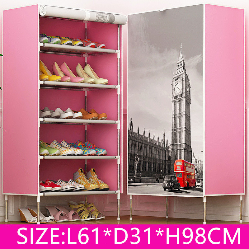 DIY Non-woven 5Tier 5 Homestyle Shoe Cabinet Shoes Racks Storage Large Capacity Home Furniture Diy Simple<br>