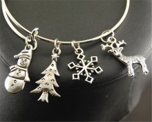 1pc Silver Santa Claus Snowman Tree Snowflake Deer Christmas Charm Wire Adjustable Expandable Bangle Jewelry Bracelets Gifts