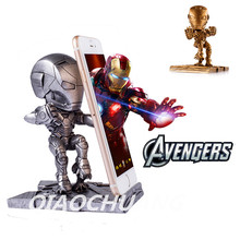 Statue Avengers Q-version Resin Mobile Phone Support Iron Man Car Decoration Mobile Phone Stand Collectible Model Toy Boxed W116