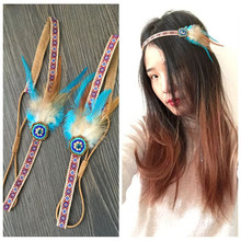 AHO449(12), Hippie Bohemian National Fabric Feather Headbands With Rhinestone Beads Hair Acessories For Women Headband