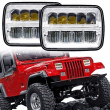 "5x7"" Inch Square LED Headlamp Sealed Beam Reflector Replacement Reflective 7x6 "" Inch Headlight Fit For Jeep Cherokee 4x4 Trucks(China)"