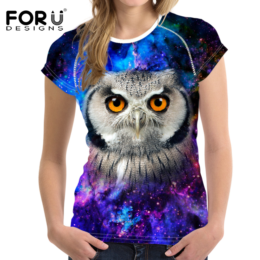 FORUDESIGNS Brand Women Clothing Summer Women T Shirt Short Sleeve O-neck Galaxy Star Eagle Owl Tops Tees Female Ladies T-shirt