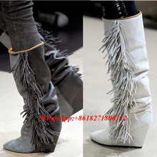 High Quality Black White Grey Suede Knee High Boots Fringe Shoes Woman Pointy Toe Wedge Booties For Women Autumn Designer Boot