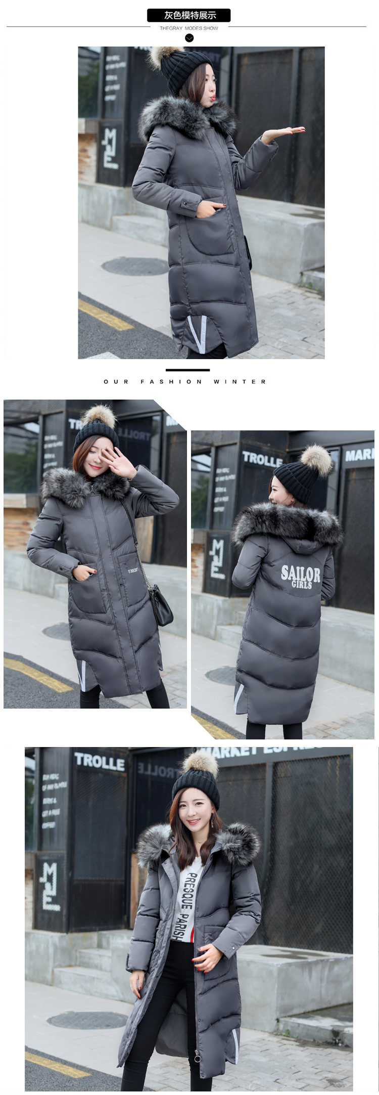 The new feather women's cotton coat thick large hooded cotton-padded jacket dress long winter warm coat for women