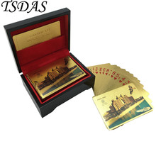 Colored Dubai Atlantis Hotel Normal Gold Playing Card Game Poker Plastic In Black Wood Box with Certificates(China)