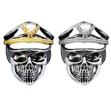 Hot Punk Rock Men Rings World War Military Cap Band Gold Silver Ring Skull Biker Finger Eagle Fashion Jewelry(China)