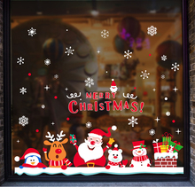 [SHIJUEHEZI] Christmas Window Sticker Cartoon Santa Claus Snowmen Deer Snowflakes Wall Decals for Market Shop Glass Decoration(China)