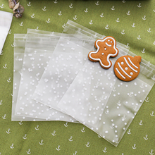 100pcs Plastic Transparent Cellophane Polka Dot Candy Cookie Gift Bag with DIY Self Adhesive Pouch Wedding Birthday Party(China)