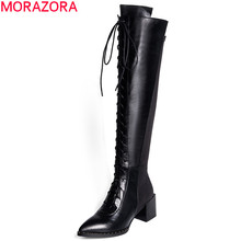 MORAOZR Plus size 34-41 High quality PU+genuine leather boots pointed toe thick high boot handsome over the knee boots for women(China)