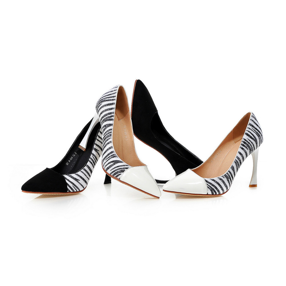 new women pumps  shoes sexy pointed toe Color matching banquet popular Black and white stripes high heels<br><br>Aliexpress