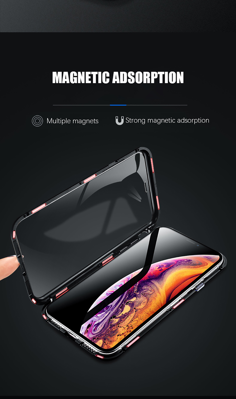 Double sided glass Magnetic case for iphone XS Max X 7 8 Plus Luxury metal 360 degree Full protection cover for iphone 7 8 Xr (5)