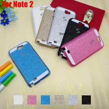 New Pretty Deluxe Bling Shinning Glitter Hard PC Capinha Etui Case Cover For Samsung Galaxy Note 2 Black White Pink Blue Gold