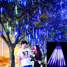 Meteor Shower Rain Tubes Christmas Lights Led Lamp 100-240V Outdoor Holiday Light New Year Decoration 8pcs/set(China)