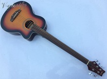 5 string fretless acoustic bass guitar with equalizer with free strap free cable(China)