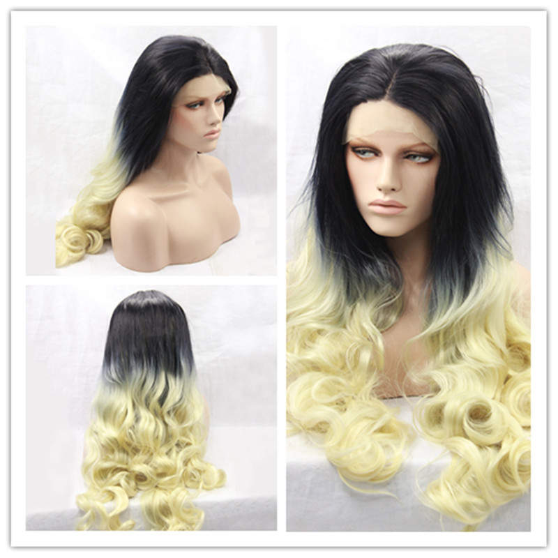 2017 Hot Sale Heat Resistant Wigs Ombre Body Wave Long Black to Yellow Synthetic Lace Front Wigs for Black Women<br><br>Aliexpress