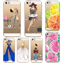 For Cell Phone Watermelon Fruits Girls Case Cover For Apple iPhone 6 6s 5 5s SE Silicone Soft Transparent Case Mobile Phone Bag
