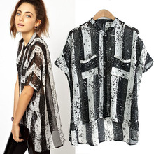 Free shipping 2014 new women's clothing fashionable stripe loose dyeing shirts with short sleeves shirt