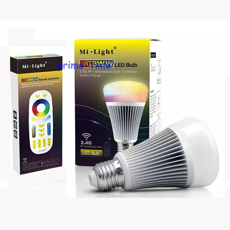 NEW MiLight 2.4G Wireless E27 8W RGBWW + Color Temperature Dimmable 2 in 1 Smart LED Bulb AC85-265V +4-Zone 2.4G RF Controller<br><br>Aliexpress