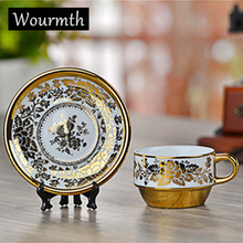 Wourmth 160ml Superior Luxury Lace Gold Plated Ceramic Bone China Flower Black Tea Coffee Cup with Saucer Spoon Set Creative