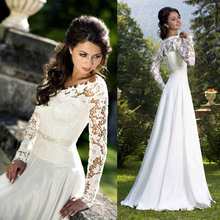 vestido 2017 A Line Long Sleeve Beach Wedding Dresses Bridal Gowns Dress V-neck Chiffon chinese store 2017