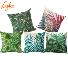 Hyha Plant Cushion Cover Tropic Tree Green Throw Pillow Cover Flamingo Bird Decorative Pillows Flower Cushion Cover for Sofa Car(China)