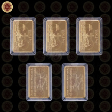 WR Promotional Gift 24k 999.9 Gold Plated Bar Hot Sale Gold Foil Metal Crafts Fake Bars with Plastic Case Value Collection