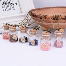 SEDmart Birthday Stone Dried Flower Glass Wish Bottle Pendant Necklace Colorful Crystal Glass Jar Plant Necklace For Women