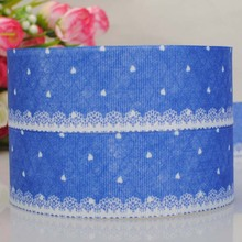 10 yard 1 - 1/2  38 mm 2015new lovely blue strip ribbon   grosgrain pattern  ribbon  tape DIY ployester ribbon