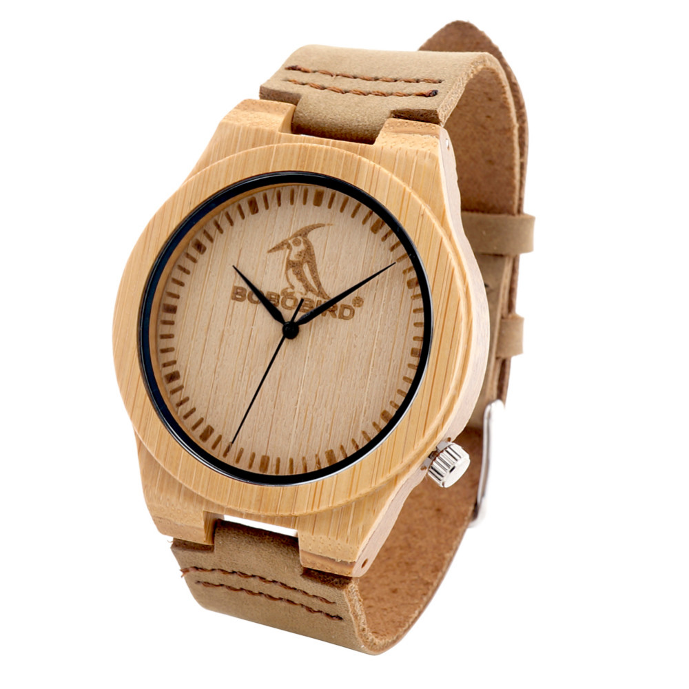 BOBO BIRD L07 Bamboo Wooden Men Watch 43mm Bamboo Dial Quartz-watch Male Clock with Leather Strap in Gift Box kol saati 2017 <br><br>Aliexpress