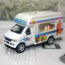 (10pcs/pack) Wholesale Brand New KT Car Model Toys Super Soft Ice Cream Truck Diecast Metal Pull Back Car Toy