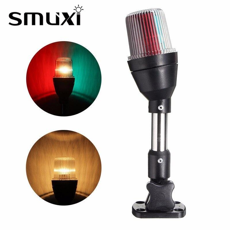 Smuxi 10W Pontoon Boat Lamp Bulb Shoreline Marine Fold Down Stern Anchor Light Red Green Lighting Waterproof IP65 DC12V<br>