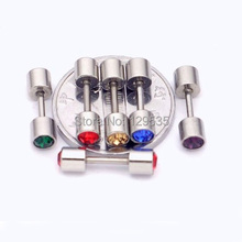 4mm width Austrian crystal titanium dumbbell Men Women Screw Back stud earrings 24 colors