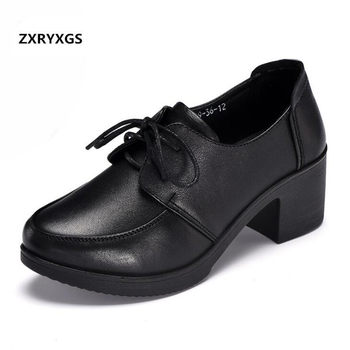2019 New Spring Shoes Woman Square Heel Shoe Round Head Non-slip Comfortable Black Lace-Up Genuine Leather Shoes High Heels