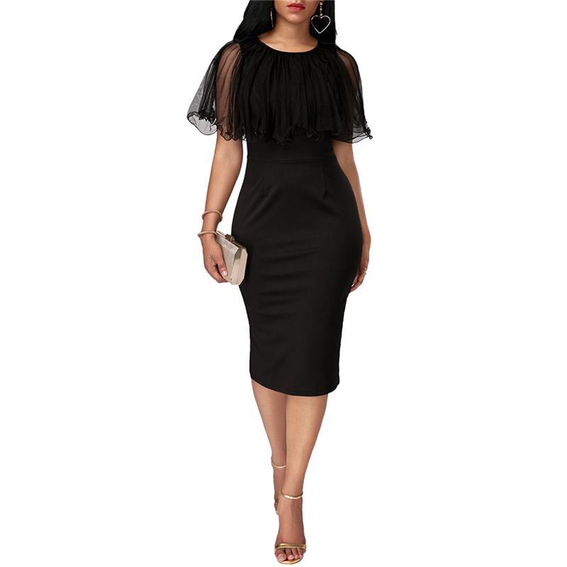 Adogirl Black Mesh Cape Bodycon Party Dresses Elegant Ladies Pencil Office Dress High Quality Cheap Work Wear Vestido De Festa 5