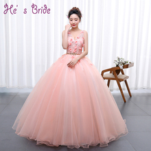 Pink Flowers Appliqued Cheap Long Prom Dresses 2017 New Sexy V Neck Sleeveless Floor-length Elegant Formal Party Prom Ball Gown