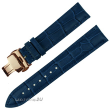 Blue Wristwatch WatchBand Crocodile Grain Leather Strap Rose Gold Push Buckle  12mm 14mm 16mm 18mm 20mm 22mm 24mm