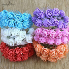 PE ROSE HEAD 144pcs/bag MULTI-USE DIY wedding path Rose with yarn handcraft bridal bouquet flower 11 colors