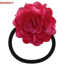 SunWard Hair Rope New Fashion Big Rose Flower Elastic Hair Bands Accessories Nice Gift July28 Drop Shipping