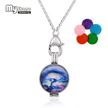 my shape Aromatherapy Diffuser Necklace Romantic Color Blue Tree Of Life Locket Perfume Pendant With Five Different Refill Pads