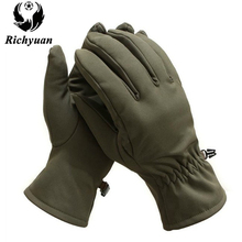 Richyuan Outdoor Tactical Shark Skin Soft Shell Camouflage Gloves Winter Unisex Warm Waterproof Windproof Fleece Gloves(China)