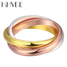H:HYDE Queen Men LuxuryThree Tone Mix Color Three Circle Ring Stainless Steel &Gold Color& Rose Gold Color Rings Women Jewelry