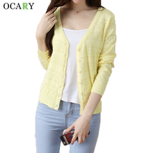 Hollow Out Women V-neck Cardigans Fashion Spring Summer Thin Sweaters Mujer Casual Long Sleeve Tricotado New Crochet Femme(China)