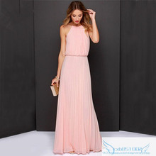 Vestidos De Fiesta Robe Maxi Dress Floor-length Solid Fast Selling Hot Ebay Europe And The Burst Neck Hung Chiffon Sleeveless